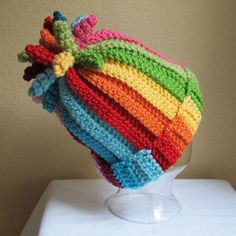 curly top rainbow crochet hat