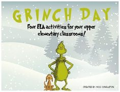 Synonym Activities, Dr Seuss Activities, Christmas Activities, The Grinch, School Holidays, School Fun, Grinch Characters, Picture Writing Prompts, 4th Grade Classroom