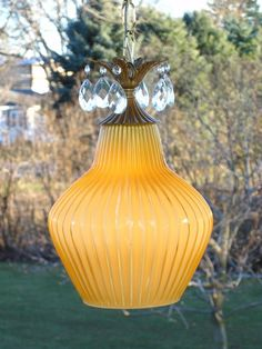 Vintage Gold Gilt Cased Ribbed Art Glass Hanging Swag Lamp Light w/ Prisms ITALY