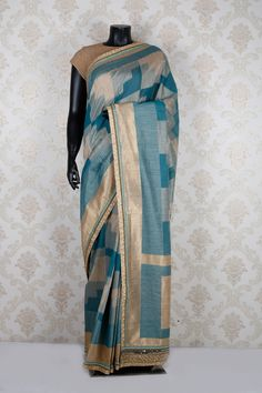 #Blue & #beige tussar silk amazing sare with dull #gold & blue border -SR11908