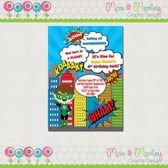 Superhero Birthday Invitation  Fully Custom  by MaxMarleyGraphics, $5.99
