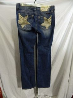 Miss Me Women Med Wash Blue Jeans American Flag Stars Bling Pockets Sz 31 I#0529 #MissMe #BootCut