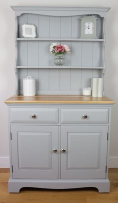 Light Grey Vintage Welsh Dresser - Country - Farmhouse - Hand Painted - Urbane Grey - Little Greene Paint