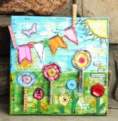 Whimsical Wall Art original mixed media birdhouses art wooden signs painting art