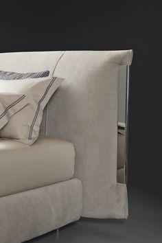 Flou New Luxury Collection at Milan Design Week - InteriorZine Nordic Furniture, Bed Furniture, Furniture Design, Double Bed Designs, Fur Bedding, Design Your Bedroom, Floor Standing Lamps, Milan Design, Upholstered Beds