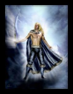 """Balder: Filho de Odin e Frigga, era uma divindade da justiça e da sabedoria. Infelizmente alguns escritores modernos, de uma linha de pensamento cristã, tentam transformar Balder no """"Cristo"""" nórdico. Conhecido como o Belo, Balder é o Deus da luz, da beleza e da bondade, mas seu nome significa guerreiro. Diz que Balder morreu mais irá retornar após o Ragnarok. Símbolos: o Sol e a luz radiante."""