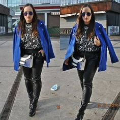 Blue, black and white Rihanna Style, Primark, Fashion Boots, My Outfit, Mirrored Sunglasses, Biker, Leather Pants, Punk, Black And White