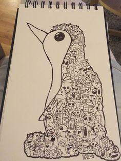 Penguin in doodle art