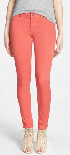 #coral skinny jeans http://rstyle.me/n/nbv5rr9te