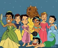 Disney princes dressed as the princesses lol so funny! Disney humor.