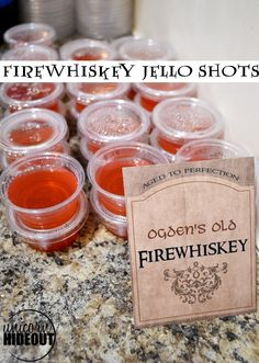 Easy Firewshiskey Jello Shots, a great addition to your next adult Harry Potter party. Made with Fireball cinnamon whiskey. Harry Potter Adult Party, Harry Potter Cocktails, Harry Potter Parts, Harry Potter Food, Harry Potter Birthday, Harry Potter Recipes, Jello Shot Recipes, Alcohol Drink Recipes, Salad Recipes