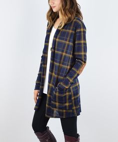Another great find on #zulily! Navy & Mustard Plaid Elbow Patch Cardigan #zulilyfinds