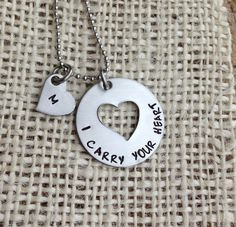 I carry your heart hand stamped personalized by CMKreations