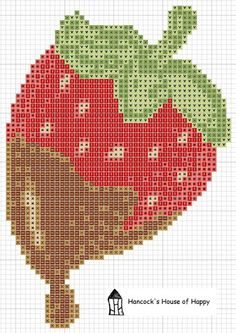 A delicious cross stitch chart PLUS a recipe for chocolate dipped strawberries. Free download at Hancock's House of Happy http://hancockshouseofhappy.blogspot.com/2012/02/delicious-chocolate-strawberry-recipe.html