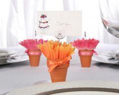 gerber daisy terra cotta place card holders