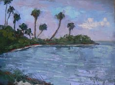 """Landscape Artists International: Tropical Landscape Painting   Art Sale   Daily Painting   IntraCoastal Evening by Carol Schiff   6x8"""" Oil"""