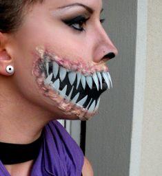Mileena Makeup for Halloween by teeth Halloween Teeth, Shark Halloween, Halloween Face Makeup, Halloween 2019, Halloween Stuff, Halloween Ideas, Halloween Decorations, Halloween Costumes, Sfx Makeup