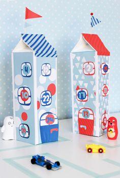 Joulukalenteri maitotölkeistä. lasten | askartelu | joulu | käsityöt | koti | joulukalenteri | kierrätys | DIY ideas | kid crafts | christmas | home | calendar | recycling | recycled materials | Pikku Kakkonen