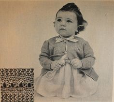 This little sweater jacket will make any baby look just like a little doll! It has such cute little pattern details. - Vintage Knitting Pattern - 1950's original