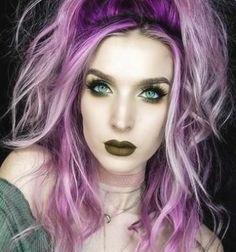 Funky Hair Colors, Vivid Hair Color, Hair Color Purple, Hair Dye Colors, Cool Hair Color, Best Purple Hair Dye, Purple And Green Hair, Galaxy Hair Color, Unicorn Hair Color