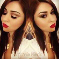 Natural cut crease smokey eye with red lips