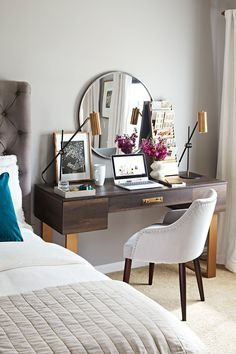 Lana Modern Writing Desk via @ursulacarmona and @bhg. #homeoffice #workfromhomeideas #writingdesk #bedroomdeskideas #deskideasbedroom #moderndesk #smallhomeoffice #workfromhomedesk Arranging Bedroom Furniture, Furniture Arrangement, Installing Wainscoting, Guest Room Decor, Bedroom Styles, Guest Bedrooms, Home Hacks, Better Homes And Gardens, Family Room