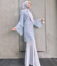 Baju raya iolls from tercinta. Cantik sangat I cannot 😭💙❄️ Islamic Fashion, Muslim Fashion, Modest Fashion, Fashion Dresses, Kebaya Lace, Kebaya Dress, Kebaya Hijab, Dress Brukat, Hijab Dress
