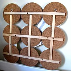 DIY Bulletin Board using IKEA HEAT Trivets ($2.99/3pk) Pic is of back to see how it's held together