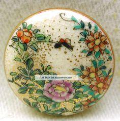 "Antique Meiji Satsuma Button Colorful Flowersw/ Gold Accents 11/16 "" Dbl Bk Mk/circa: 1868-1914"
