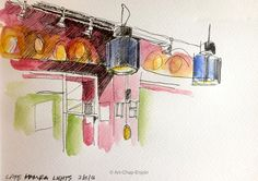 Day 248 - Cafe Hamra lights This is just a quick (unfinished) sketch using a UniPin pen and water, that I did while waiting for dinner at the Cafe Hamra. Wed-7-Dec-2016 https://artchapenjoin.wordpress.com/2016/12/10/day-248-cafe-hamra-lights/ #Art #Drawing #Sketch #UniPin #Watercolour #WorldWatercolorGroup #Usk #Urbansketching #Urbansketchers #Cafe