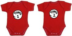 Thing 1 and Thing 2 Set of Twins One-piece Baby Shirts/Bodysuits (0-3 Months) Born Cool Baby http://www.amazon.com/dp/B00I0UFBMY/ref=cm_sw_r_pi_dp_6BRZub1BMV4T5