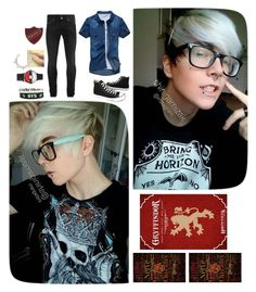 """""""•I've really been on a bender and it shows. So why don't you blow me a kiss before she goes• -Albus Potter"""" by slightlyinsaneee ❤ liked on Polyvore featuring Alexander McQueen, Converse, Pamela Love, men's fashion and menswear"""