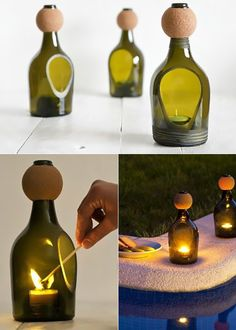 Inspirational crafting and upcycling ideas with wine bottles- Inspirierende Bastel- und Upcycling Ideen mit Weinflaschen inspiring-craft-and-upcycling-idea-with-wine bottles-for-kerzendeko - Cutting Glass Bottles, Glass Bottle Crafts, Wine Bottle Art, Wine Bottles, Bottle Cutter, Oil Candles, Upcycle, Easy Diy, Decoration