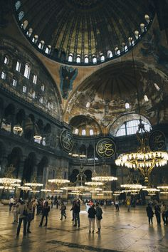 Interior of the Hagia Sophia a former Christian patriarchal basilica, later an imperial mosque, and now a museum in Istanbul, Turkey.
