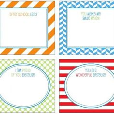 Free Printable School Lunch Notes {Printable Card}  Send a little love note to school with your kiddos with these free printable school lunch notes.  Use the blank designs or fill in the prompts.