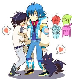 um please tell me Ren isn't humping Aoba's leg? down, doggy, down! #dramaticalmurder - La cara de esos cuatro es EPICA! XD