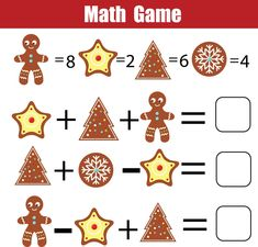 Mathematics educational game for children. Mathematical counting equations worksheet for kids. Christmas Math, Christmas Gift Tags, Fun Math, Math Games, Christmas Crossword Puzzles, Advent, Educational Games For Kids, Holiday Themes, Worksheets For Kids