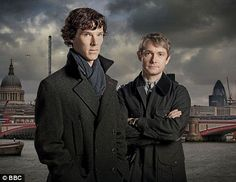 Benedict Cumerbatch and Martin Freeman as Holmes and Watson on BBC's Sherlock. Can't wait for the second series this fall!