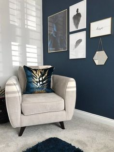 Lisa's beautiful Stiffkey Blue feature wall adds a subtle statement and provides the perfect backdrop to her gallery wall Living Room Blue Feature Wall Living Room, Cheap Living Room Sets, Blue Living Room Decor, Living Room Paint, My Living Room, Living Room Designs, Living Room Wall Colors, Grey Feature Wall, Painted Feature Wall