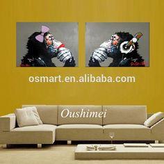 100% ручной работы животных обезьяна картина маслом-вЖивопись и каллиграфия из Украшения для дома на m.russian.alibaba.com.
