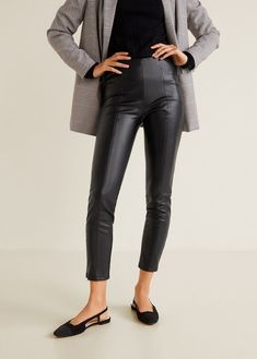 18 Pairs Of Pleather Trousers On The High Street Leggings Outfit Winter, Legging Outfits, Leather Leggings Outfit, Leather Trousers Women, Slim Fit Trousers, Zara, Autumn Fashion 2018, Pants For Women, Clothes For Women