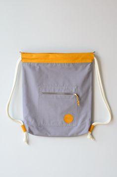 Turnbeutel in Grau/Gelb // grey and yellow gym bag, tote bag by remembermebags via DaWanda.com
