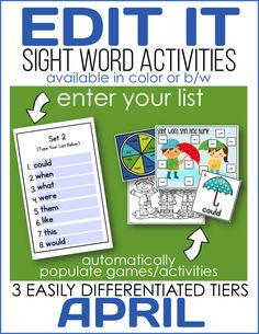 A super simple way to EDIT IT sight word activities by simply entering your list and having games and activities automatically populated.