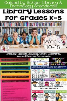 Here is a bundle of printable library lesson plans that are perfect for kindergarten, Kindergarten Library Lessons, School Library Lessons, Library Lesson Plans, Elementary School Library, Library Skills, Library Activities, Kindergarten Lesson Plans, Elementary Schools, Library Ideas