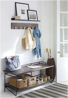 Besides tables, you can rely on benches as your house's entryway furniture. An entryway bench can be as simple as a plank of a wood, long bench. If you have had one entryway . Read Entryway Bench Ideas that are Useful and Beautiful Entryway Wall Decor, Apartment Entryway, Entryway Furniture, Entryway Bench, Entryway Ideas, Ikea Entryway, Bench Decor, Hallway Ideas, Flur Design