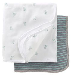 carter s fox amp stripe 2 pack swaddle blankets   mint gray one size
