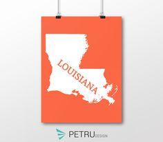 Louisiana print - Louisiana art - Louisiana poster - Louisiana wall art - Louisiana printable poster - Louisiana map - Louisiana navy art by on Etsy Louisiana Map, Printables, Symbols, Posters, Wall Art, Unique Jewelry, Handmade Gifts, Quotes, Etsy