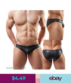 Briefs with leather-lined front zip Vegan Leather mens underwear Plus Size XXXL