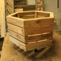 Pallet Wood Crate Box on Swivel Casters