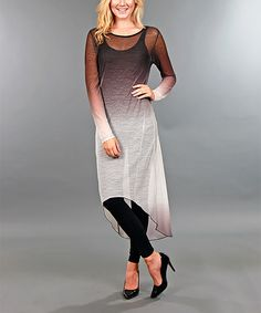 Look at this Simply Aster Black & White Ombré Hi-Low Dress on #zulily today!